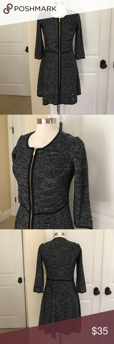 Lightweight zip up leather inset sweater dress M Beautiful, soft, comfortable zip up, faux leather shoulder inset sweater dress by ann Taylor - very good condition. 57 acrylic, 31 cotton, 7 nylon, 5 wool. Hand wash. Ann Taylor Dresses Long Sleeve