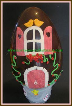 Uovo decorato semplice..casetta degli uccellini!