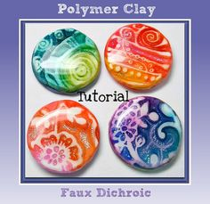 This Polymer Clay Faux Dichroic Ink & Foils Pendants tutorial will guide you step by step on How To create fabulous pendants, cabochons & earrings,