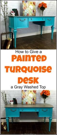 vintage painted turquoise desk with gray washed top is part of Turquoise painting Furniture - vintage painted turquoise desk with gray washed top revealing patterned wood grain underneath and silver gray hardware to match Teal Desk, Turquoise Painted Furniture, Painted Furniture For Sale, Turquoise Painting, Colorful Furniture, Repurposed Furniture, Wood Furniture, Painting Furniture, Refurbished Furniture