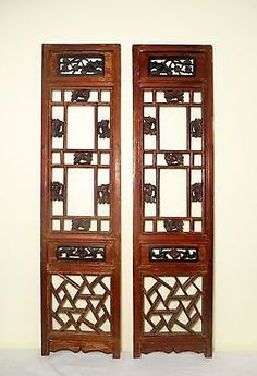 Antique Chinese Screen Panels (3039) (Pair) Cunninghamia wood, Circa 1800-1849