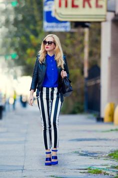 stripes and blue outfit