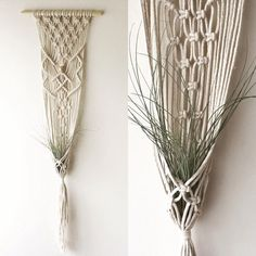 Macrame plant hanger made with pine dowel (top support) and 100% cotton braided cord. Measures - 30cm wide by 90cm length Other designs available