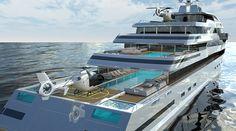 New 110 Meter HALYCON Superyacht Design by GILL SCHMID DESIGN. http://gillschmiddesign.com/110m_2016.html