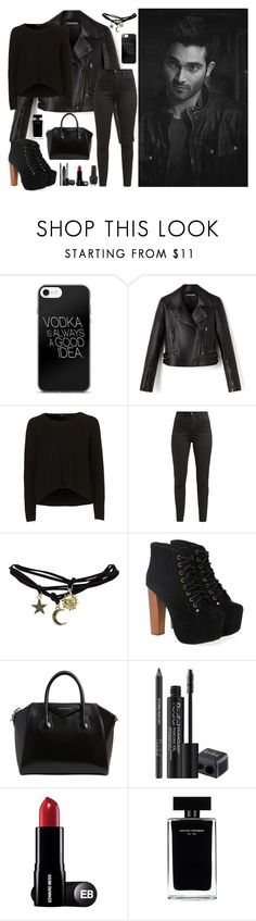 """""""Derek Hale 537"""" by soulaapst ❤ liked on Polyvore featuring Levi's, Wet Seal, Jeffrey Campbell, Givenchy, Rodial, Narciso Rodriguez and OPI"""