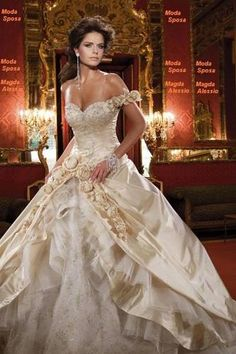 White and Gold Wedding. Sweetheart Corset Ballgown Dress. For my Beauty and the Beast Themed wedding