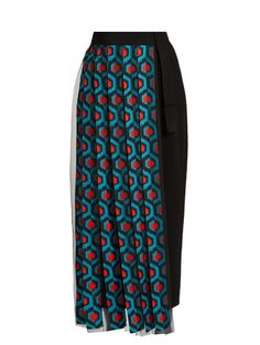 Delpozo Pleated Tulle And Crepe Front Wool Trousers In Blue Multi Blue Trousers, Slim Fit Trousers, Stripe Pants, Crepe Skirts, Pleated Pants, Fall Skirts, Delpozo, Wool Pants, Slim Legs