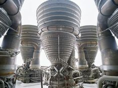 """Apollo Saturn F1 Engine Cluster, NASA Johnson Space Center, TX, 1996. """"I made this image laying on my back with my camera on my face in a light rain. I enjoy the visual reference to Nefertiti."""" Photo by ROLAND MILLER"""