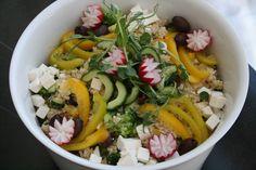 Kasvis-feta-couscous-salaatti syntymäpäiville. Talvi 2016.