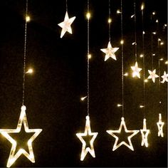 Material: Plastic External Color: Clear Shape: Star 6 Light colors for your choice: Yellow, Warm white, White, Purple, Multicolor, Blue Design: 6 Big Star lights, 6 Small Star lights Per Big light Siz