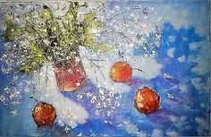 натюр с яблоками - Изобразительное искусство - Масло, акрил