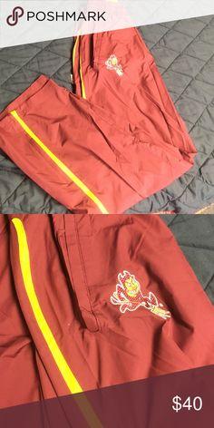Nike ASU Sun Devil Sweatpants. Nike ASU Sun Devil Sweatpants. Windbreaker Material with yellow stripe! Nike Pants Track Pants & Joggers