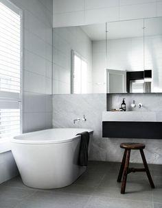 Marble, white and black minimal bathroom