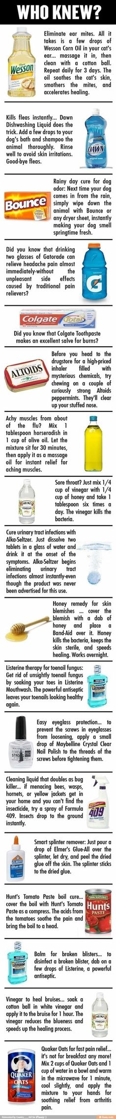 Great tricks! Gatorade for headaches, honey for blemishes, vinegar for bruises, etc