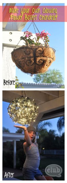 cute idea - DIY Hanging Flower Basket Chandelier  ... 2 half-round hanging baskets connected into globe shape & wrapped inside/outside with several strands of twinkle lights ...