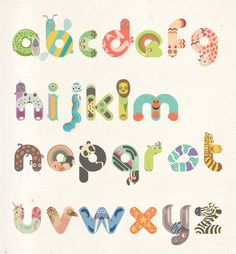 So Cute! Animal Typography by Iglika Kodjakova. I wish this was a fabric. It would make a great quilt.