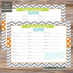 Orange, Aqua and Lime  Baby Shower Game baby animal match -INSTANT DOWNLOAD,printable via Etsy