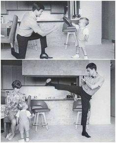 Rare photograph of Bruce Lee with his son Brandon Lee.