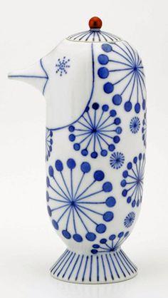 上出長右衛門窯×ハイメ・アジョン 醤油さし(受皿付)鳥形(花)¥31,500