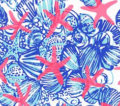 """18"""" x 18"""" or 1 YARD Lilly Pulitzer Fabric  She She Shells  (Large Scale Print) by PinkLemonadeDesignSC on Etsy https://www.etsy.com/listing/194251512/18-x-18-or-1-yard-lilly-pulitzer-fabric"""