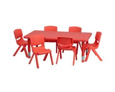 Flash Furniture 24``W x 48``L Adjustable Rectangular Red Plastic Activity Table Set with 6 School Stack Chairs... $165.50 (41% OFF)
