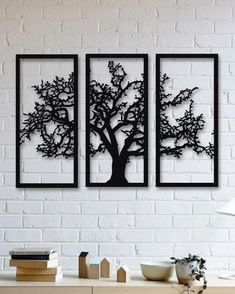 Tree of Life 3 Pieces Metal Wall Art, Modern Rustic Wall Decor, Living Room Home Decor, Special Design New Home Gift, Black Metal Wall Art - Metal Art Rustic Walls, Rustic Wall Decor, Metal Tree Wall Art, Metal Art, Wall Wood, Tree Wall Decor, Wall Art Decor, Rooms Home Decor, Bedroom Decor