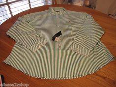 Mens Polo Ralph Lauren long sleeve Green white stripe shirt custom fit XXL 2XL