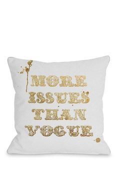Oliver Gal by One Bella Casa More Issues Than Vogue Gray Gold Pillow on HauteLook