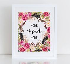 Home Sweet Home Art Print Printable Floral Wall por DecorartDesign