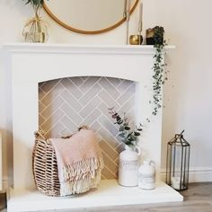 Have you been meaning to redesign your fireplace? You know that tiles would look amazing there, right? added herringbone metro tiles and it looks gorgeous. Brick Bonds, Grey Brick, Metro Tiles, Tile Grout, Grey Tiles, Brick Fireplace, Home Living Room, Fireplaces, Herringbone