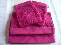 2 Garnier Thiebaut Cotton Fine French SPA + Guest towels FUSHIA #GARNIERTHIEBAUT