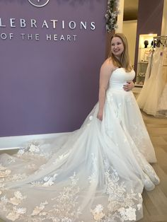 This dress has it all with the lace train and full skirt! Wear Store, Bridal And Formal, Lace Wedding, Wedding Dresses, Formal Wear, One Shoulder Wedding Dress, Special Occasion, Ball Gowns, Bridesmaid