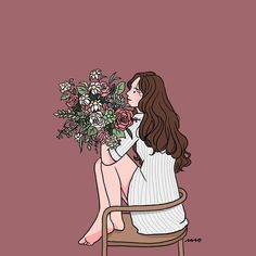 Flowers Illustration Drawing Beautiful 34 Ideas For 2019 Cartoon Kunst, Cartoon Art, Art And Illustration, Art Illustrations, Doodle Drawings, Cute Drawings, Pretty Art, Cute Art, Cute Couple Art