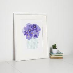 Modern Floral Purple Art Print 'Violets' by Sweet Oxen www.sweetoxen.co.uk
