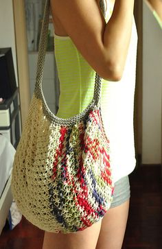 Free knitting pattern for Market Bag tote pattern  - Just stuff this convenient expandable tote by Lily Sugar n Cream in your purse and pull it out to fill with your groceries.
