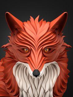 diseños 3D animales zorro Increíbles ilustraciones vectoriales por Maxim Shkret de Rusia