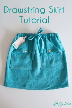 In this drawstring skirt tutorial by Melissa from Melly Sews, you learn how to make a fun drawstring skirt with pockets.