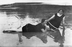 nice Two girls on the beach at Hervey Bay Queensland ca. 1918