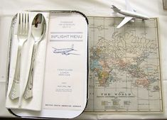 travel party theme :) obviously the menu is over the top but what about the little take out box as a plate?