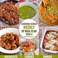 Slimming Eats SP Weekly Meal Plan - Week 4 - Slimming World recipes - taking the work out of planning, so that you can just cook and enjoy the food. Sp Meals Slimming World, Slimming World Plan, Slimming Eats, Slimming World Recipes, Slimming Word, Vegetarian Recipes, Cooking Recipes, Healthy Recipes, Free Recipes