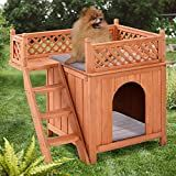 Wood Pet Puppy Dog House w/ Balcony Simple but fashionable, the dog house with side ladder makes it a deluxe pet home and creates a comfortable space to rest or to play. The wooden house is perfect for your lovely pets, especially recommended for puppies Pet Puppy, Pet Dogs, Dog Cat, Puppy Play, Outdoor Dog, Indoor Outdoor, Wood Dog House, Wooden House, Puppy Room