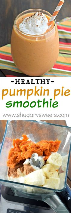 Whip up one of these delicious Pumpkin Pie Smoothies for breakfast today! The perfect healthy way to start your day (or recover after a workout)!