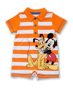 Look at this #zulilyfind! Disney Bright Pumpkin Stripe Mickey & Pluto Romper - Infant by Disney #zulilyfinds