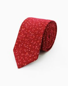 Brushed Red Floral Tie