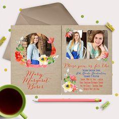 Graduation Announcement / Invitation Cards -- burlap & watercolor flowers - fun 3 photo invitations   by gwenmariedesigns