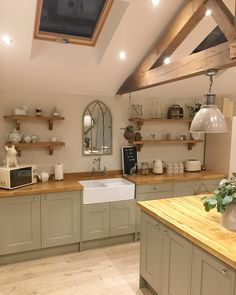 Yup, another kitchen post!📸 So glad we took advice to use for our oak worktops! We love it, the… Yup, another kitchen post!📸 So glad we took advice to use for our oak worktops! Kitchen Post, Home Decor Kitchen, Rustic Kitchen, Kitchen Interior, New Kitchen, Home Kitchens, Kitchen Ideas, Kitchen Layout, Green Country Kitchen
