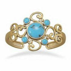 Ornate Bronze Turquoise Cuff Bracelet