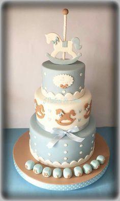 Torte Cake, Cake & Co, Baby Shower Cakes, Baby Boy Shower, Carousel Cake, Christening Party, Baby Birthday Cakes, Cake Board, Disney Cakes