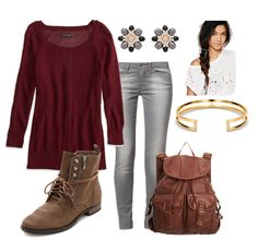 Back to School Outfit Ideas for teen girls. Pair a sweater, skinny jeans, boots and a leather backpack together.