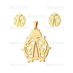 juego colgante y aretes de escarabajo dorado en acero inoxidable - SSSTG954232